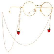 Womens Gold Eyeglass Chain Metal Strawberry Sunglasses Reading Glasses Straps Holder Eyewears Cord neck strap Rope Lanyard