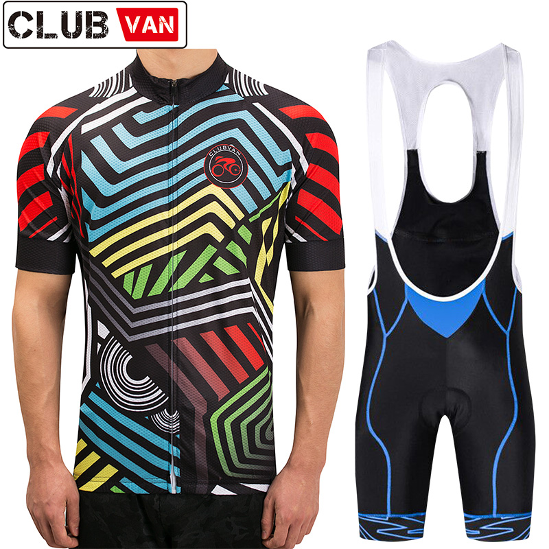 clubvan Polyester Short Sleeve Cycling Jerseys Set Pro Summer Bicycle Clothing Quick-Dry Bike Wear Maillot Ropa Ciclismo Set#A13