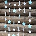(3pieces/lot) Blue Silver  Star Garland One Gerland Decor Boy/Girl 1st Birthday Decorations , Baby Boy Baby Shower,Cake Smash