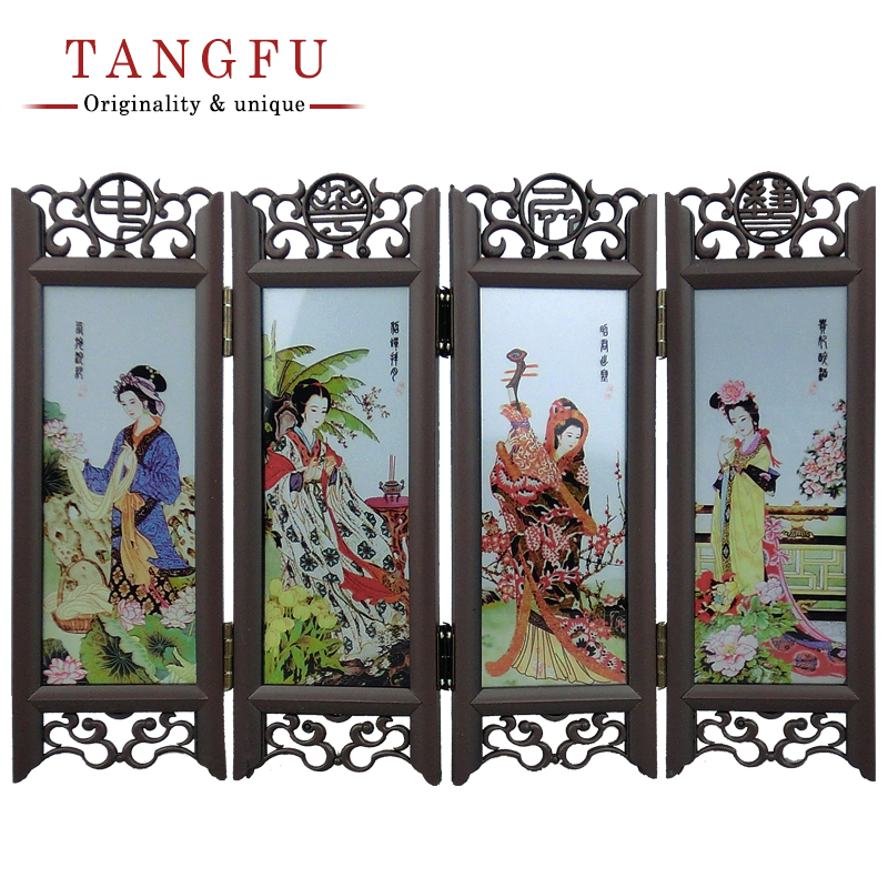 home decor chinese antique beautiful folding screen small table ornament vintage glass room divider decorative partition - Home Decor Screens