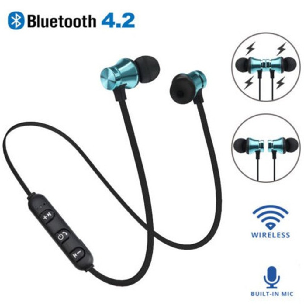 Magnetic Attraction Bluetooth Earphone Headset Waterproof Sports 4.2 With Charging Cable Young Build-in Mic Bluetooth Headphone