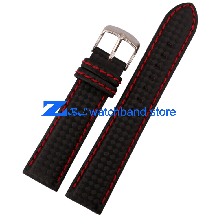 Carbon Fiber strap Watchband bottom is genuine leather  Red stitching soft  18mm 20mm 22mm 23mm 24mm male watch band accessories