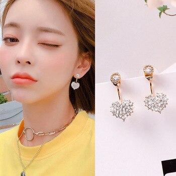925 Silver Needle Sweet Flash Diamond Love ear nail fashion hundred ears after hanging peach heart earrings pendant jewelry