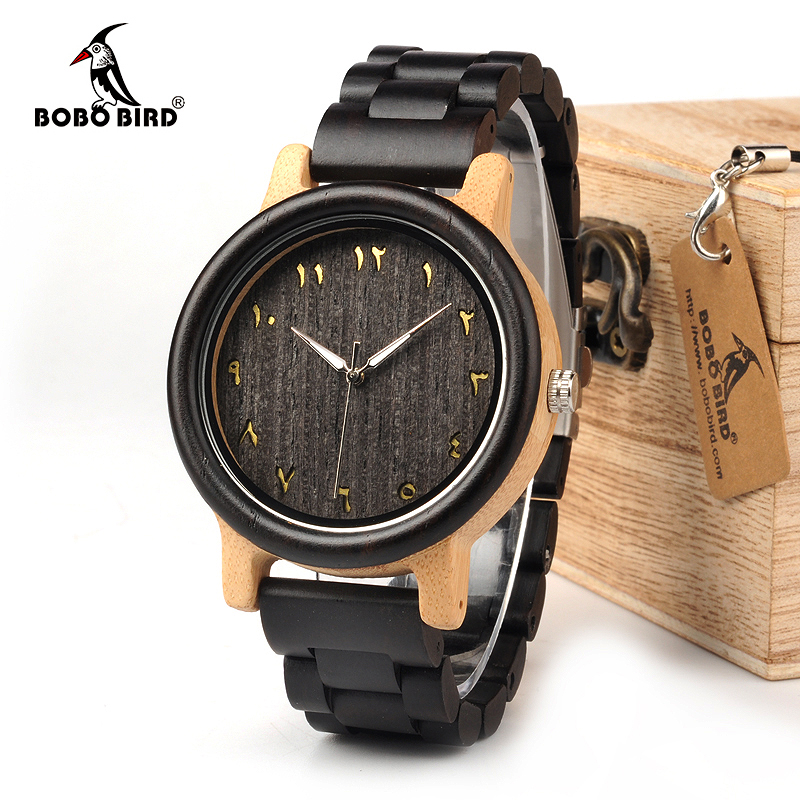 BOBO BIRD WN14N15 Wenge Wooden Watches Eastern Arabic Numerals Dial Face Watchs Ebony Band Watch for