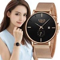 LIGE роскошные женские часы с металлической сеткой Простые Классические наручные Модные Повседневные кварцевые высококачественные женские ...