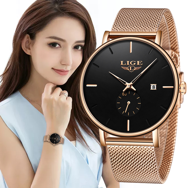 LIGE Luxury Women Metal Mesh Watch Simplicity Classic Wrist Fashion Casual Quartz High Quality Womens Watches Relogio Feminino