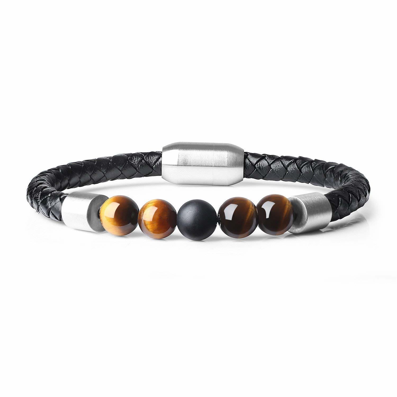 QIDISI 2018 Fashion Charm Men Leather Stainless Bracelet Lava Chakra Tiger Eye Howlite Stone Beads Bracelets & Bangles For Men J 4