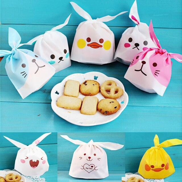 10 Buah/Banyak Telinga Kelinci Lucu Cookie Tas Hadiah Tas Permen Biskuit Makanan Ringan Baking Paket Pernikahan Nikmat Hadiah Dekorasi Paskah