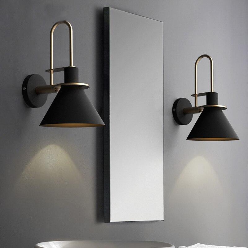 New Nordic mur lampe De Chevet lampe Chambre Moderne salon Passerelle Escalier Simple ceinture de fer mur lampe LED lampe