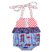 Summer Infant Baby Boutique Romper CONICE NINI 4th of July Baby Girls Clothes Ruffle Romper Girl romper Bubble GPF903-535