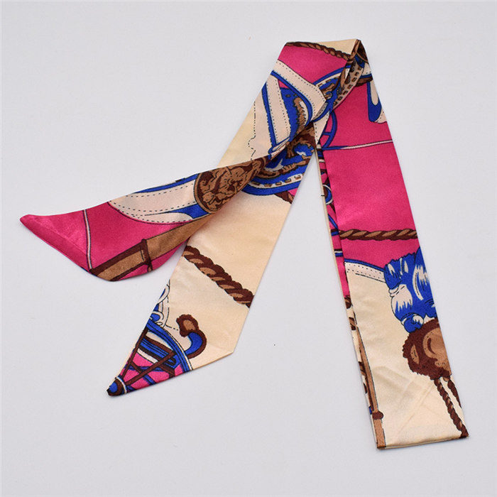 HTB1ugBhagFY.1VjSZFnq6AFHXXaD - Small Silk Scarf For Women New Print Handle Bag Ribbons Brand Fashion Head Scarf Small Long Skinny Scarves Wholesale