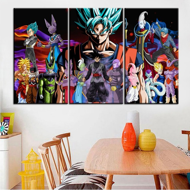 Large Anime Poster 5 Pcs Super Saiyan God Character Painting Home Wall Decorative On Canvas Print Dragon Ball Picture