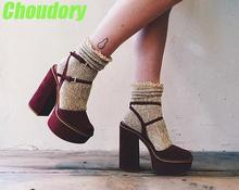 Green Monday 2017  Clearance Elegant Burgundy Suede Leather-based Girls Platform Pumps Attractive Pointed Toe Women Ankle Buckle Excessive Heels Feminine Slingback Chunky Heel