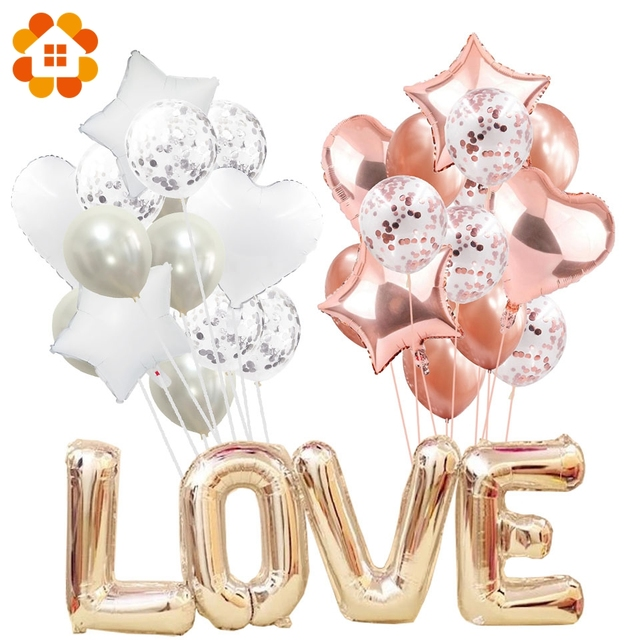 14pcs Creative Multi Confetti Air Balloons Happy Birthday Party Helium Balloon Decorations Wedding Festival Balon Party Supplies