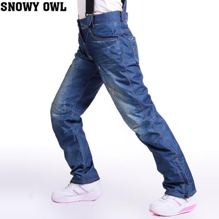 WINTER FEMALE Snowboarding Pants Windproof Waterproof Breathable Denim Ski Pants Ice Sport Camping Climbing Hiking Outdoor Pant autumn winter women men outdoor hiking pants warm waterproof breathable soft pants cycling climbing camping travel sport pant