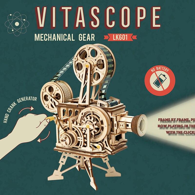 Diy clássico filme projetor estatuetas em miniatura do vintage vitascope 3d quebra-cabeça de madeira decorações para casa artes artesanato para adulto lk601