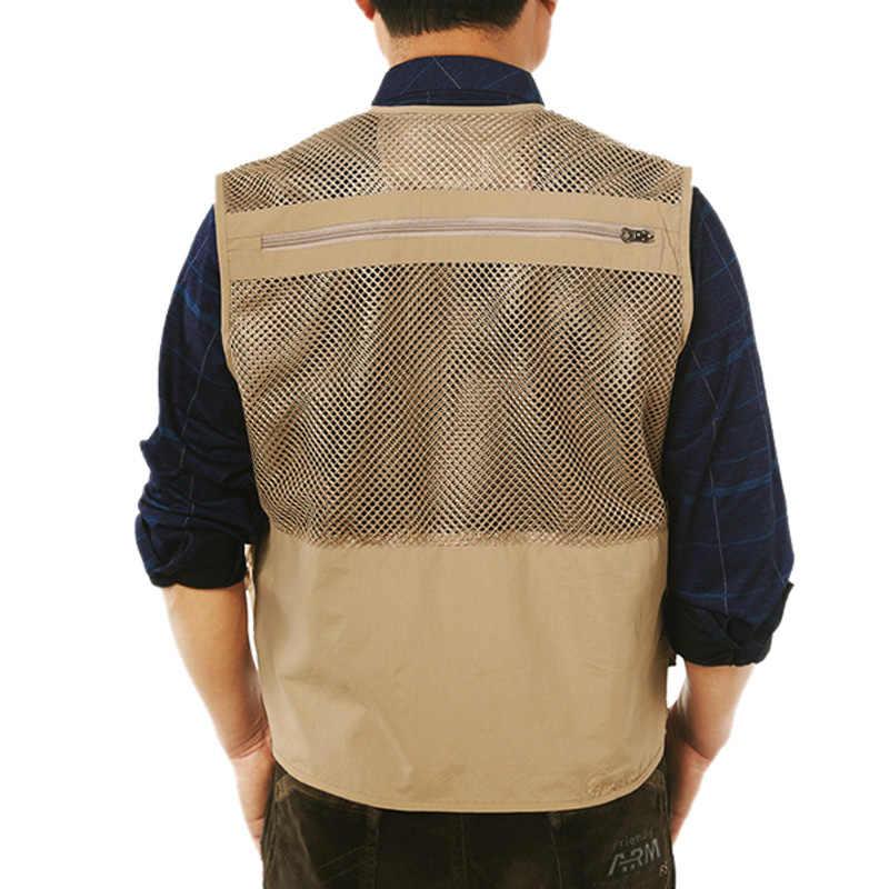 Men Army Green Fishing Vest Khaki Multi Pocket Mesh Vest Men's Hunter Fisherman Clothig Multipurpose Sleeveless Jacket XA78G