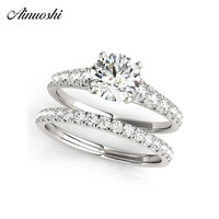AINUOSHI 925 Sterling Silver Women Ring Sets White Gold Color Round Cut 1CT Ring Sets Wedding Engagement Party Silver Jewelry