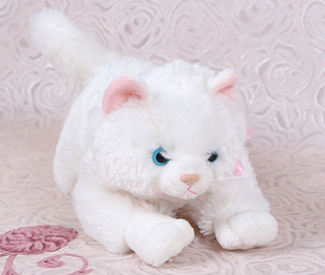 7.8 inch Kawaii Stuffed Simulation Animal Toys For Children Baby Dolls Kids Plush White Cat Puffy Neko kawaii baby dolls