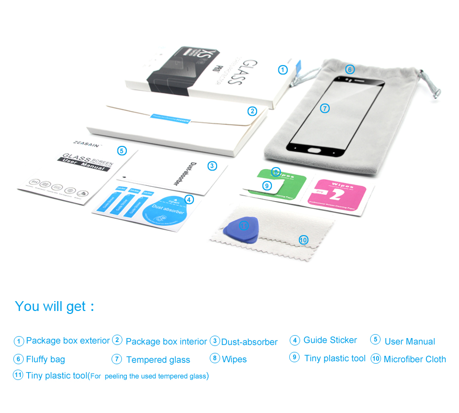 ZEASAIN Penuh Penutup Kaca Tempered untuk Huawei Honor 6X6 X Honor6X - Aksesori dan suku cadang ponsel - Foto 2