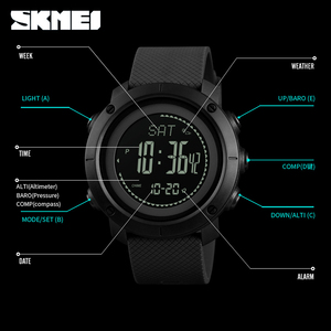 Image 5 - SKMEI Outdoor Compass Watches Mens Digital Sport Wristwatches For Men Thermometer Pressure Weather Tracker Watch reloj 1418 1427