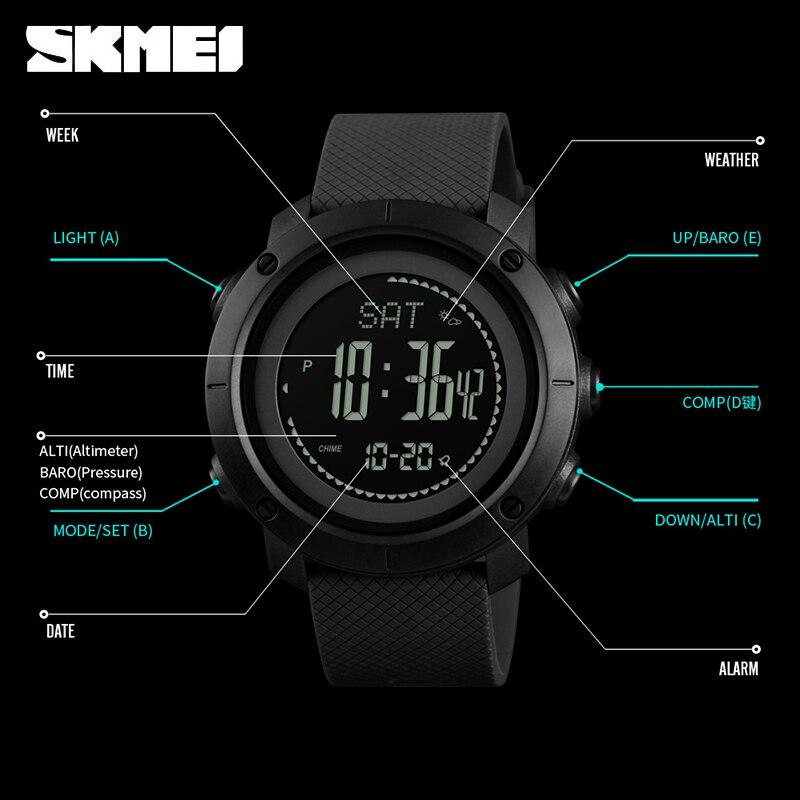 SKMEI Outdoor Sport Watch Men Climbing Height Compass Multifunction Watches Stopwatch 5Bar Waterproof Digital Watch reloj hombre