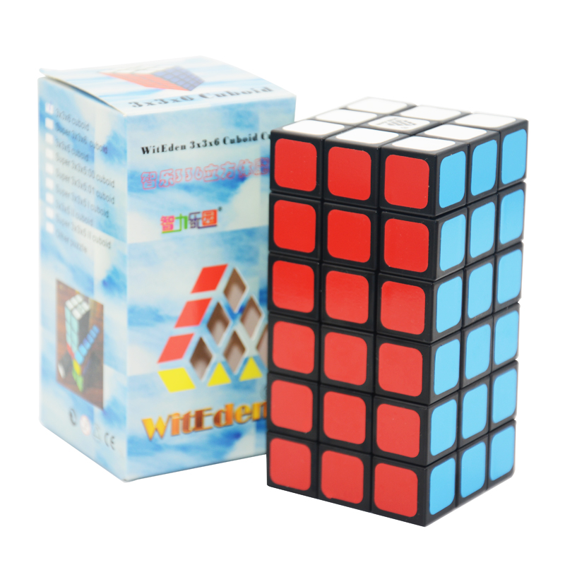 WitEden 3x3x6 Cuboid Cube Puzzle Cubo Magic Child Grownups Brain Teaser Educational Toys Puzzle Cube Black diy 3x3x3 brain teaser magic iq cube complete kit black