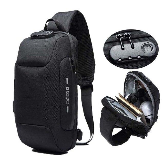 OZUKO Fashion Messenger Shoulder Bag Anti theft USB Charging Chest Pack Crossbody Bags for Men Sling Bag Fashion Phone Bags