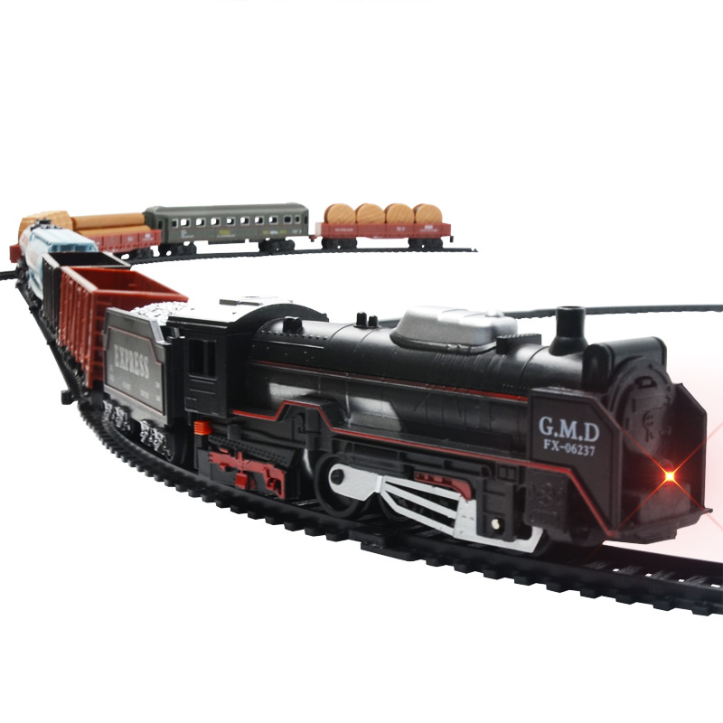 Children's Electric Track Train Toy Lighting Simulation Classical Small Train Model DIY Splicing Track Indoor Games Very Fun !