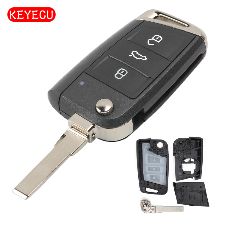Keyecu Flip <font><b>Remote</b></font> <font><b>Key</b></font> Shell Case 3 Button Fob for Volkswagen <font><b>Golf</b></font> <font><b>7</b></font> MK7 GTI, Skoda Octavia 2015 image