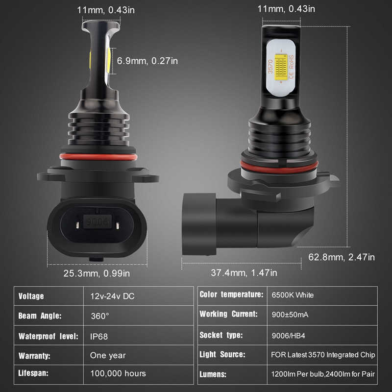 Katur 2pcs 9006 HB4 LED Bulbs For Car Led Driving Running Lights Fog Light LED Auto Lamp 12V 6000K White 3000K Gold Canbus Led