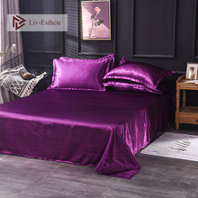Liv-Esthete 2019 Hot Sale Wholesale Luxury 100% Satin Silk Purple 1PCS Flat Sheet Silky Queen King Bed Sheets For Women Men