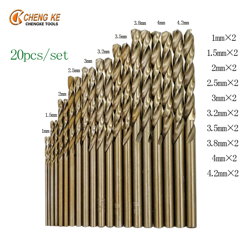 CHENG KE 20Pcs/Set twist drill bit small size 1mm 1.5mm 2mm 2.5mm 3mm 3.2mm 3.5mm 3.8mm 4mm 4.2mm cobalt steel alloys wood drill ke jitronik на гольф 2