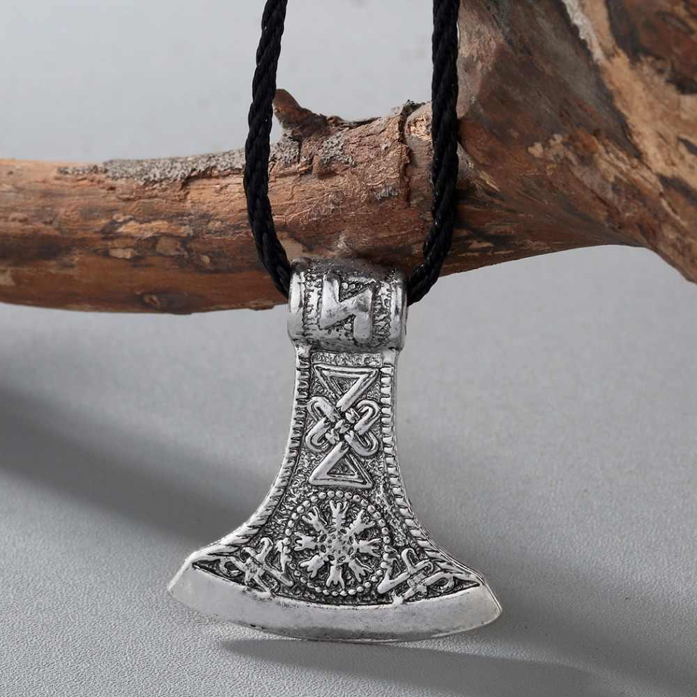 CHENGXUN Slawischen Perun Axt Antike Amulett Kolovrat Symbol Pagan Schmuck Amulette und Talismane Anhänger für Brother Geschenk