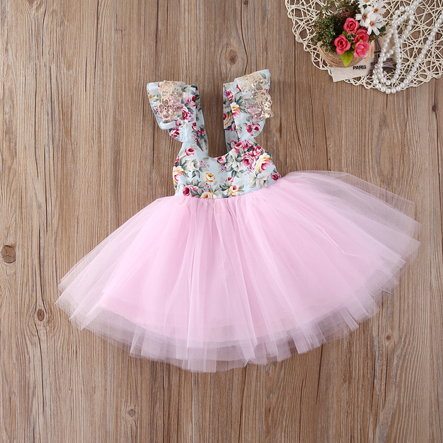 d5a645456ff7 Newborn Toddler Baby Girls Floral Dress Party Ball Gown Lace Tutu ...
