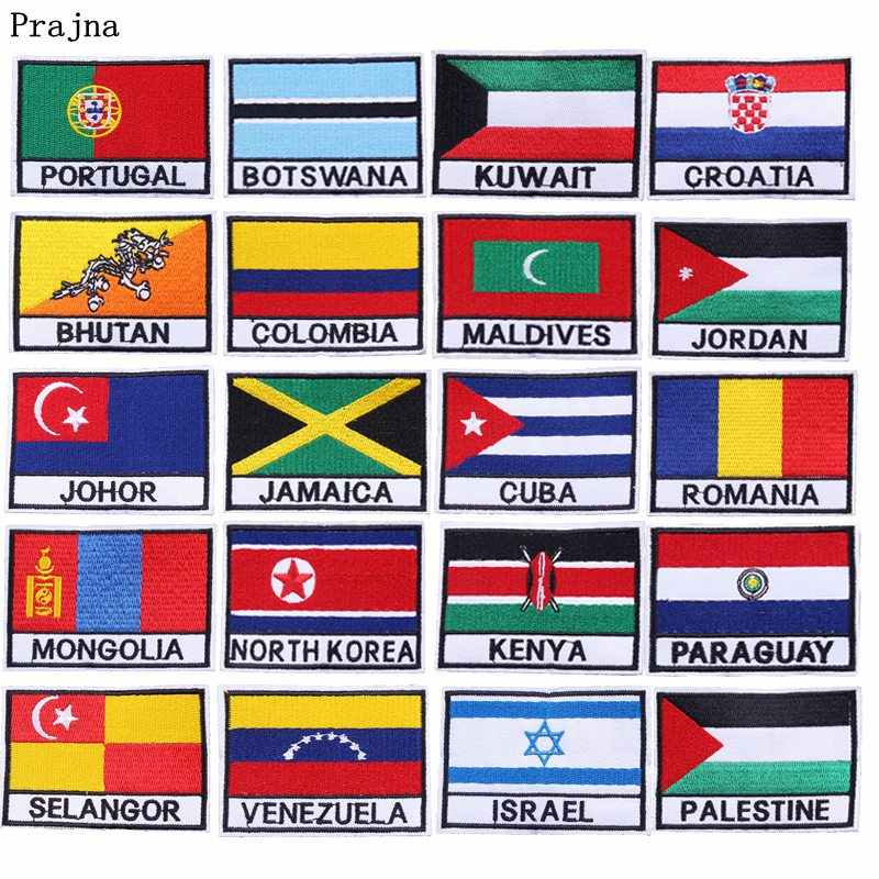 Prajna National Flags Kazakhstan Iron On Patches Portugal Cuba Stickers Embroidered Patch For Clothing DIY Applique On Jacket