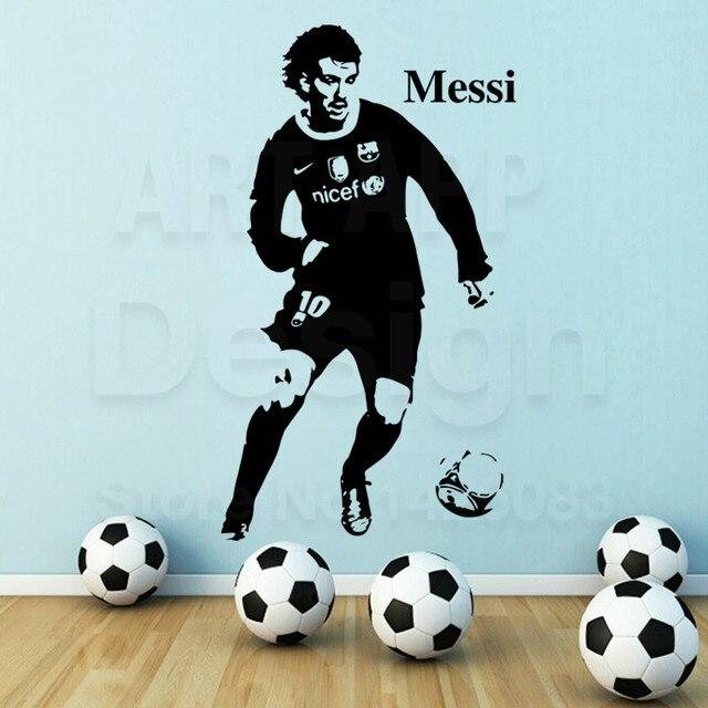 Art nouveau design home decor football lecteur vinyle Messi sticker mural  amovible maison décoration pas cher