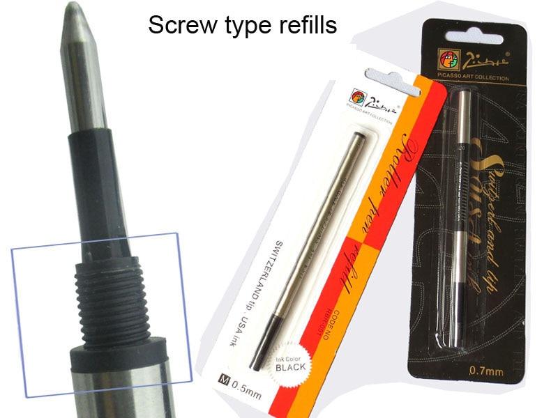 Rollerball pen Refills screw type gel refill  PICASSO - 6/12/24 Black Gel ink refill 0.7 or 0.5 Free Shipping fine tech gel pen 12 pack black ink