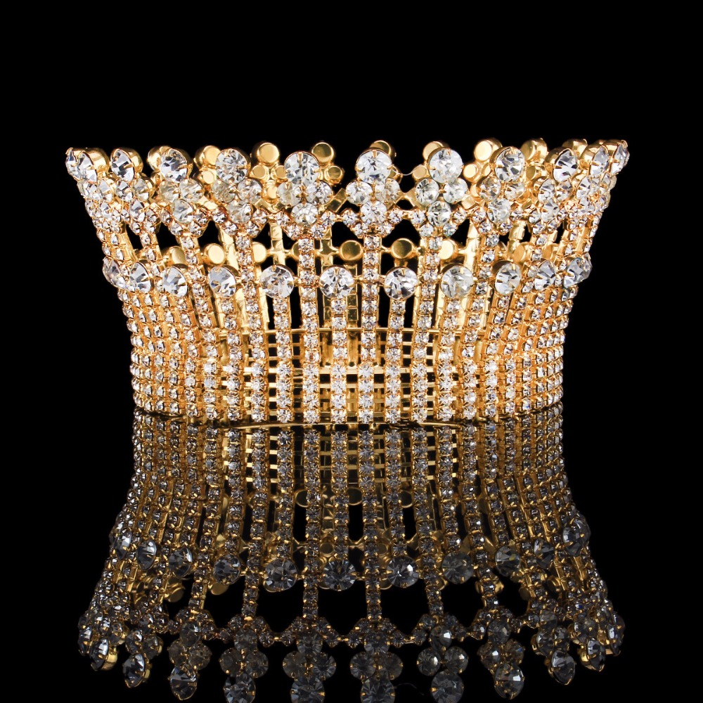 Full Round Crystal Bridal Large Crown Tiaras Princess Party Pageant Crown For Women Hair Accessories Fashion Wedding Hairbands princess bride full round crowns vintage crystal rhinestone bridal tiaras prom pageant crown wedding hair accessories hairbands