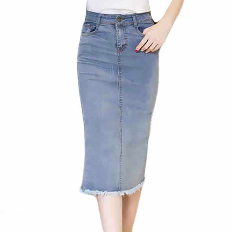 c49b5608fccbed 2018 Long Denim Skirts Womens Ladies Office Work Pencil Jeans Skirt High  Waist Plus Size S
