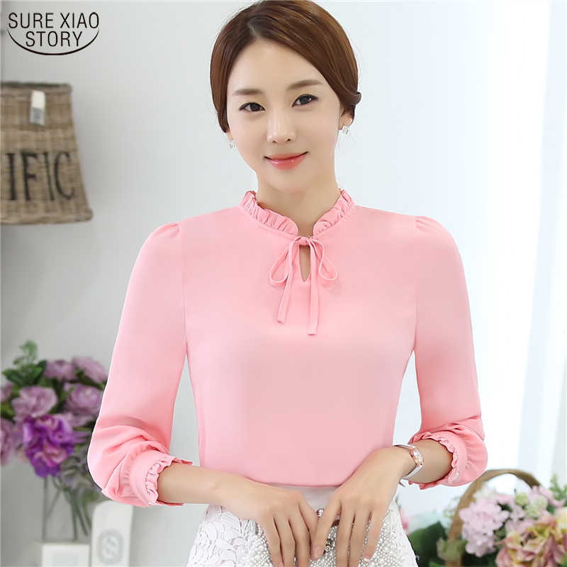 935b24fecb Women Blouses New Fashion Tops casual loose Long Sleeve Bow Tie Lady  Chiffon Shirts Plus Size