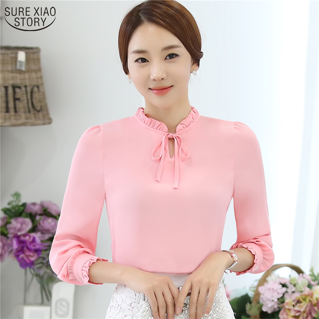 a42592fed65 Women Blouses New Fashion Tops casual loose Long Sleeve Bow Tie Lady  Chiffon Shirts Plus Size Blouses 880I 25