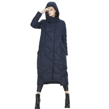 2018 Winter new stylish down jacket woman long thickening keep warm large size hooded winter cold-proof loose down coat uv1289 wholesale 2016 kelme k090 men long hooded winter keep warm coat training sport football down jacket blue