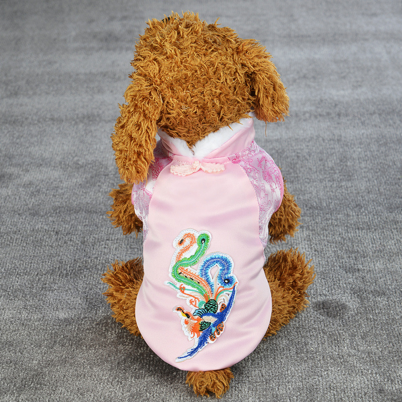 Spring Festival Teddy Dog Coat Winter Puppy Costume Pet Dragon Clothes Small Dog Cat Tang Suit New Year Cat Jacket
