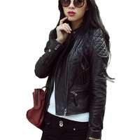 2016 Top Fashion Women Leather Jacket High Quality Zipper New Ladies Leather Coat Jacket Women Brand