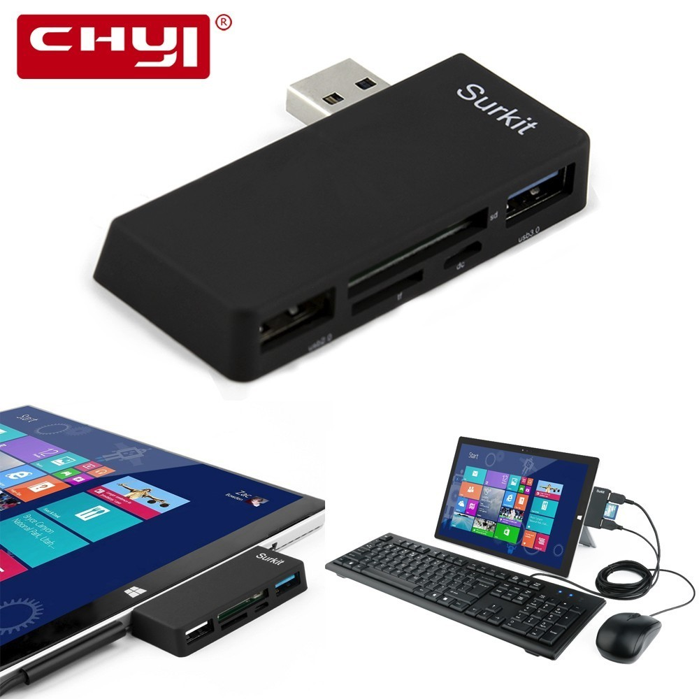 CHYI Surface Pro концентратор адаптер Высокая Скорость USB 3,0 + USB 2,0 и SD карты памяти Micro USB зарядка порты и разъёмы для microsoft Surface Pro ...