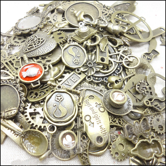 Hot 40-70 pattern Vintage Charms Mixed 60pcs Antique bronze Plated Metal Alloy Pendants DIY Jewelry Findings цена