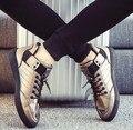 Размер 39 ~ 44 Горячая Бронзовый мужские Вулканизации Обуви 2017 White Lace-Up Мужская Обувь Корейский Стиль Черный кожаная Обувь chaussure homme