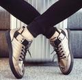 Size 39~44 Hot Bronze Men's Vulcanize Shoes 2017 White Lace-Up Mens Shoes Korean Style Black Leather Shoes chaussure homme