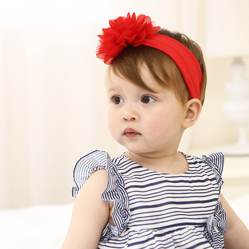 Baby Girls Red Lace Flower Headbands Toddler Hair Accessories fille bebes bandeau flores acessorio para cabelo infantil